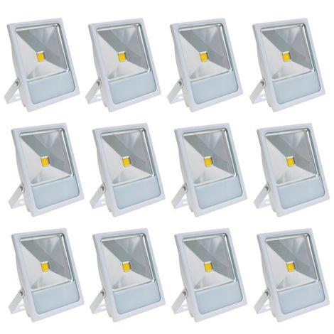 Lot 12 Projecteurs Spot LED extérieur extra plat 50 W Eclairage blanc chaud