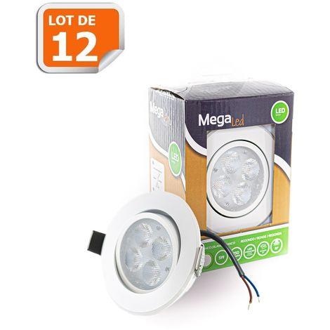 Lot 12 Spots encastrables LED amovibles Blanc 5W - Equivalent 50W - Mega Led CLIRW50W