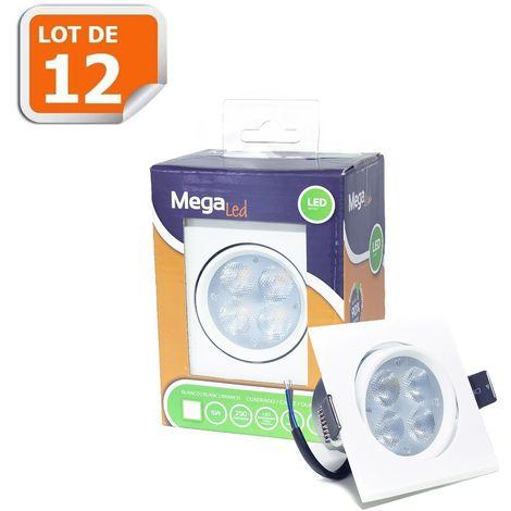 Lot 12 Spots encastrables LED amovibles Blanc 5W - Equivalent 50W - Mega Led LISW50W