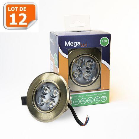 Lot 12 Spots encastrables LED amovibles Bronze 5W - Equivalent 50W - Mega Led CLI-RB50W