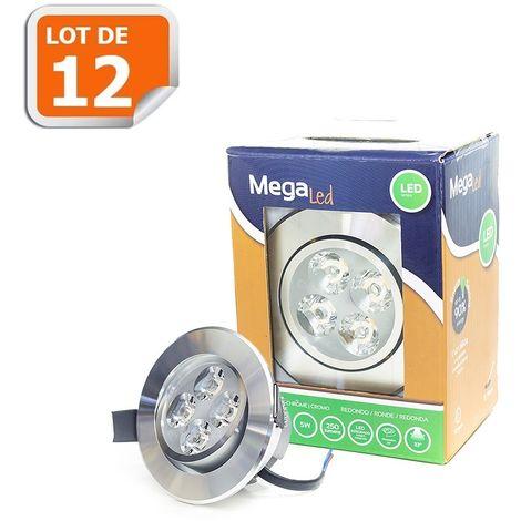 Lot 12 Spots encastrables LED amovibles Chrome 5W - Equivalent 50W - Mega Led CLI-RC50W