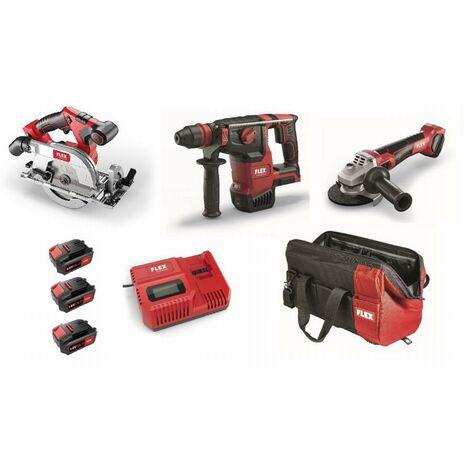 Lot 18V FLEX - Scie circulaire + Perforateur + Meuleuse - 3 batteries + chargeur + accessoires