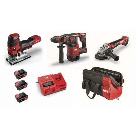 Lot 18V FLEX - Scie sauteuse + Perforateur + Meuleuse - 3 batteries + chargeur + accessoires