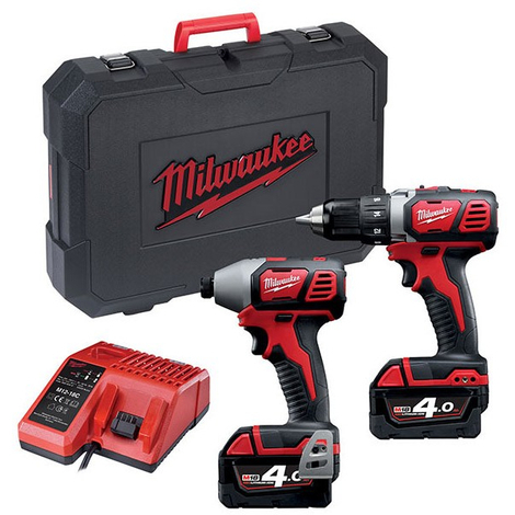 Lot 18V perceuse visseuse BDD + visseuse à chocs BID MILWAUKEE - 2 batteries 4.0Ah + chargeur + HD Box - 4933459900