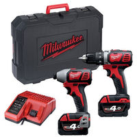 Lot 18V perceuse visseuse BDD + visseuse à chocs BID MILWAUKEE - 2 batteries 4.0Ah + chargeur + HD Box - 4933459900