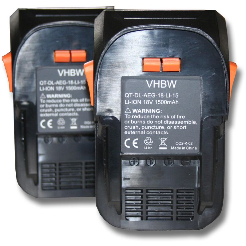 vhbw 2x Batterie compatible avec AEG BS 18G, BSB 18, BSB 18 C, BSB 18 G, BSB 18 LI, BSB 18 STX, BSS 18C outil électrique (1500mAh Li-Ion 18V)