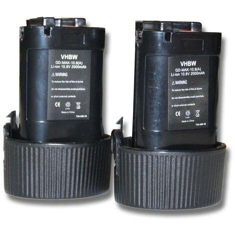 Lot 2 batteries Li-Ion vhbw 2000mAh (10.8V) pour outils LC01ZX, LCT207, LCT207W, LM01, LM01W, LM02 comme Makita 194550-6, 194551-4, BL1013, BL1014.