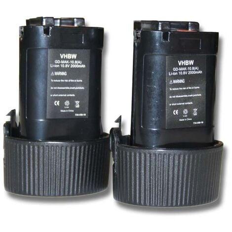 Lot 2 batteries Li-Ion vhbw 2000mAh (10.8V) pour outils scie sauteuse JR102, scie sauteuse JR102DWE comme Makita 194550-6, 194551-4, BL1013, BL1014.