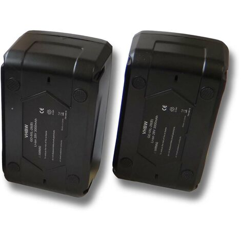 Lot 2 batteries Li-Ion vhbw 3000mAh (28V) pour outils comme aspirateur Milwaukee V28 VC etc.Remplace: 48-11-1830, 48-11-2830, 48-11-2850.