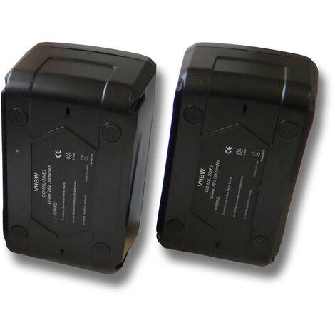 Lot 2 batteries Li-Ion vhbw 3000mAh (28V) pour outils comme lampe Milwaukee V28 etc. Remplace: 48-11-1830, 48-11-2830, 48-11-2850.