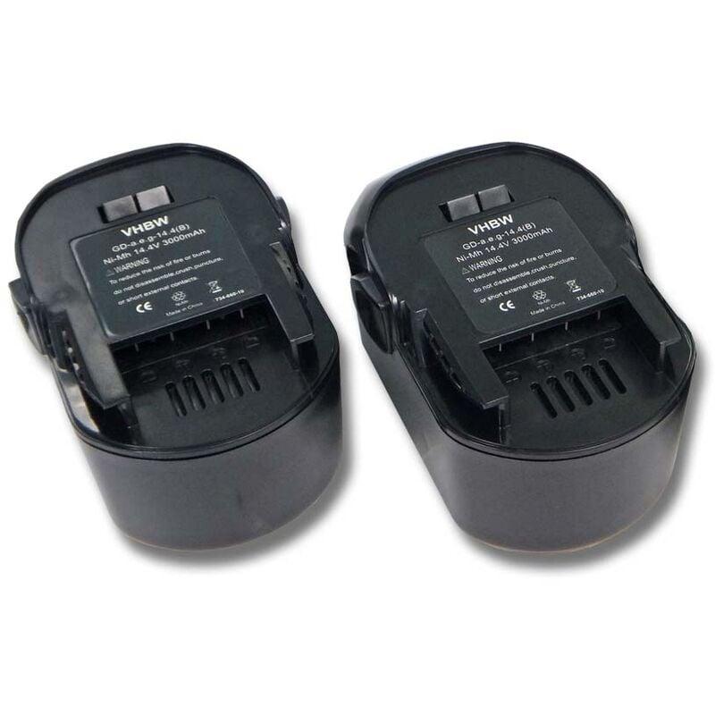 Lot 2 batteries Ni-MH 3000mAh (14.4V) pour outils AEG BSS 14, AEG FL 14. Remplace: AEG 4935413106, 4935416790, B1414G, B1415R. - Vhbw