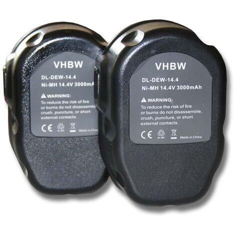 Lot 2 batteries vhbw (14.4V) pour outils Dewalt DC614KA, DC615KA, DC728KA, DC731KA, DC735KA, DC735KB. Remplace: Dewalt DC9091, DE9038, DE9091, DE9092