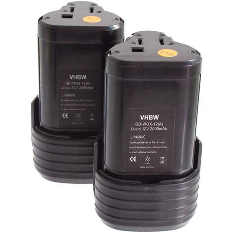 lot 2 batteries vhbw Li-Ion 2000mAh pour outils visseuse Worx WX125, WX382.2, WX382.3, WX540.3, WX677 comme Worx WA3503.