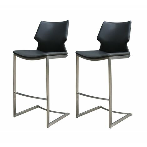 lot 2 Chaises de bar simili noir - TOTEM - Noir