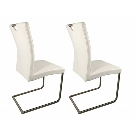 Lot 2 chaises design blanches en simili cuir - ADRIANA - Blanc