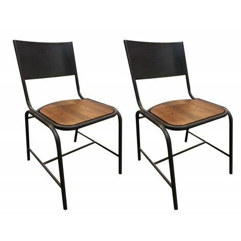 Lot 2 chaises Design Industriel – WORKSHOP - Bois