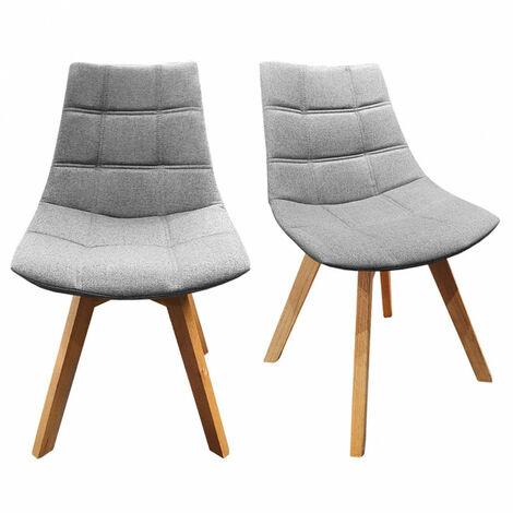 Lot 2 chaises Grises tissu & piétement chêne – BETI - Gris