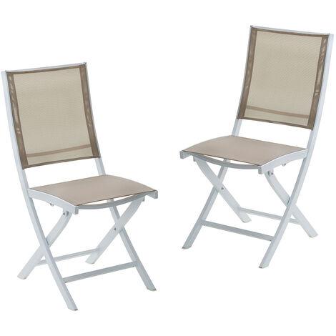 Lot 2 chaises jardin pliantes alumunium et textilène blanc et marron