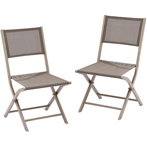 Lot 2 chaises jardin pliantes alumunium et textilène taupe