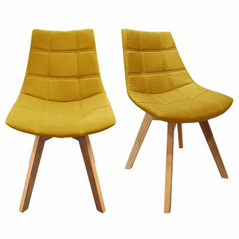 Lot 2 chaises Jaunes tissu & piétement chêne – BETI
