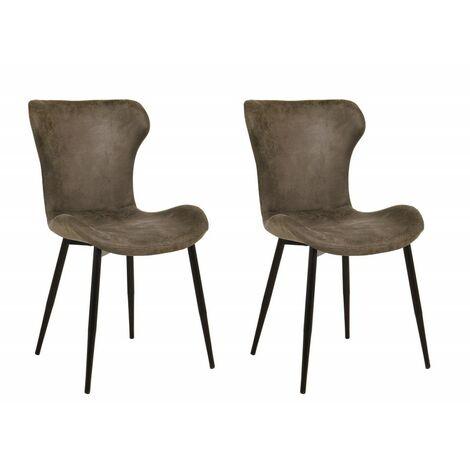 Lot 2 chaises marron - HIRO - Marron