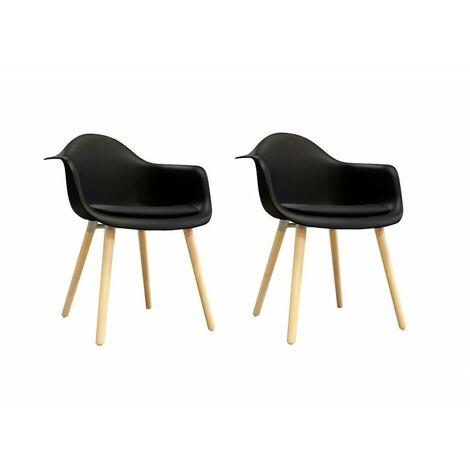 Lot 2 chaises noires accoudoir style scandinave - HANS - Noir