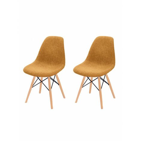 Lot 2 chaises orange tissu & bois de hêtre - RETRO - Orange