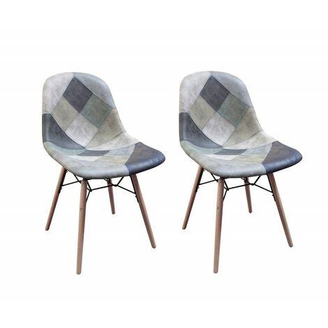 Lot 2 chaises patchwork bleu scandinave vintage - SUMMER - Bleu