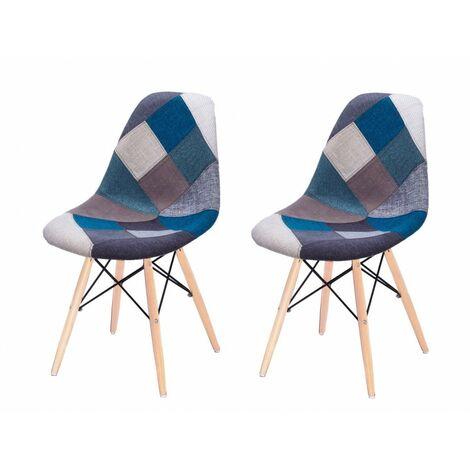Lot 2 chaises Patchwork Bleu tissu & bois de hêtre - RETRO - Bleu