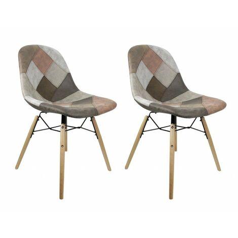 Lot 2 chaises patchwork taupe - effet vieux cuir doux - SIMON - Marron