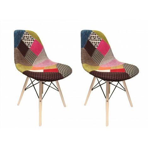 Lot 2 chaises Patchwork tissu & bois de hêtre - RETRO - Multicolore