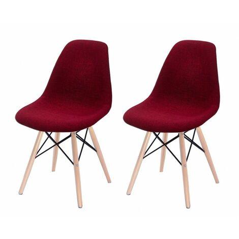 Lot 2 chaises rouges tissu & bois - RETRO - Rouge