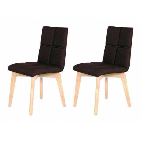 Lot 2 chaises scandinave et tissu marron - LEA - Marron