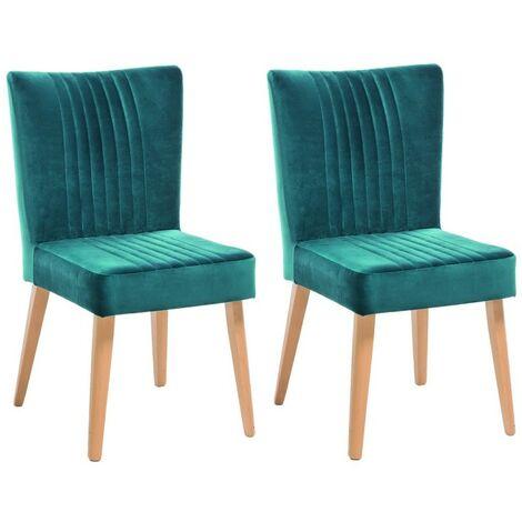 Lot 2 chaises scandinave velours bleu vert- ROYAL - Bleu canard