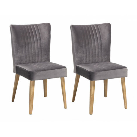 Lot 2 CHAISES scandinave VELOURS gris - ROYAL