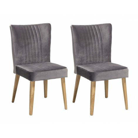 Lot 2 CHAISES scandinave VELOURS gris - ROYAL - Gris