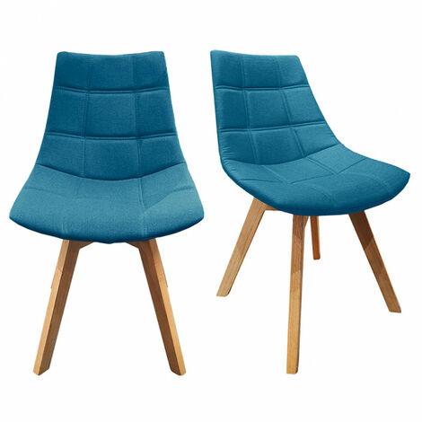 Lot 2 chaises tendances bleu pieds en bois de chêne massif – BETI - Bleu