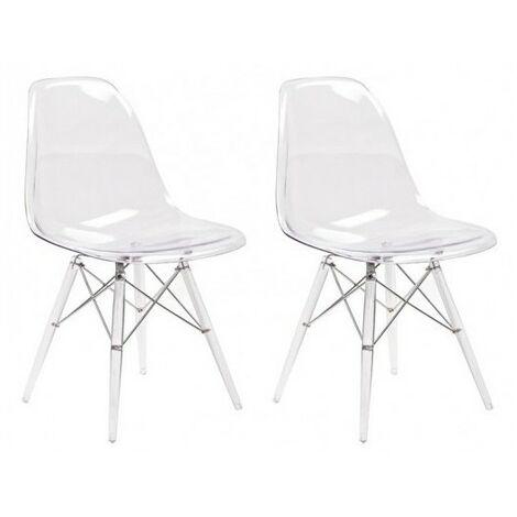Lot 2 chaises transparentes & coussin noir - Zaho - Transparent