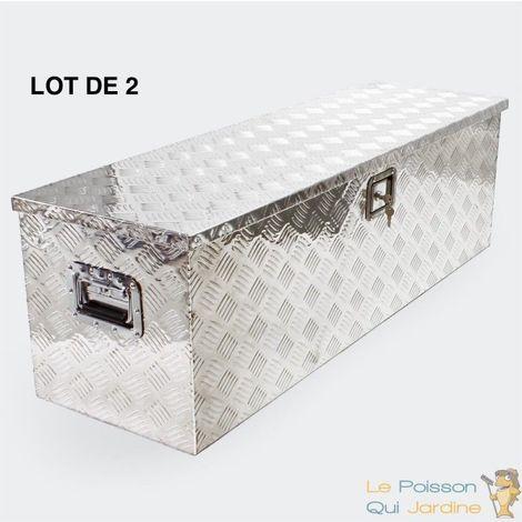 Lot 2 Coffres Alu, 123 cm, Caisses à Outils, Remorques, Campings, déco - Acier