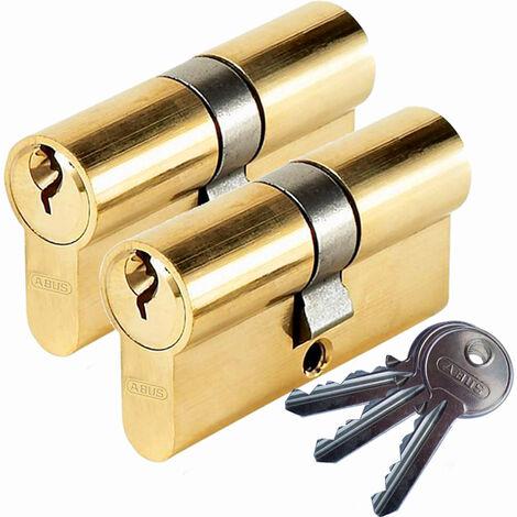 Lot 2 Cylindres de serrure porte ABUS E50 30x30 Barillet double entrée 3 cles S