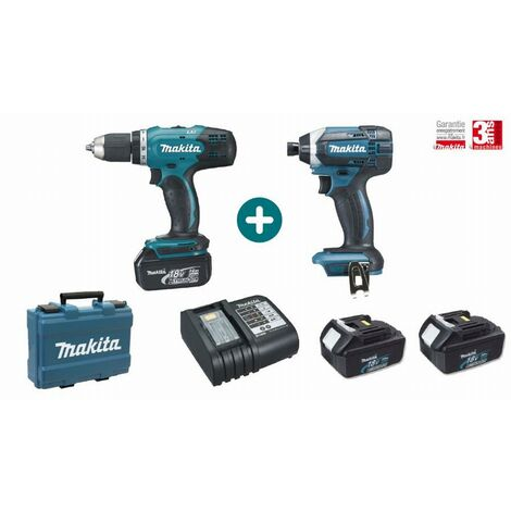 Lot 2 machines MAKITA 18V 3 Batteries 3Ah + Chargeur + Perceuse Visseuse DDF453 + Visseuse à Choc DTD152 - LMK1