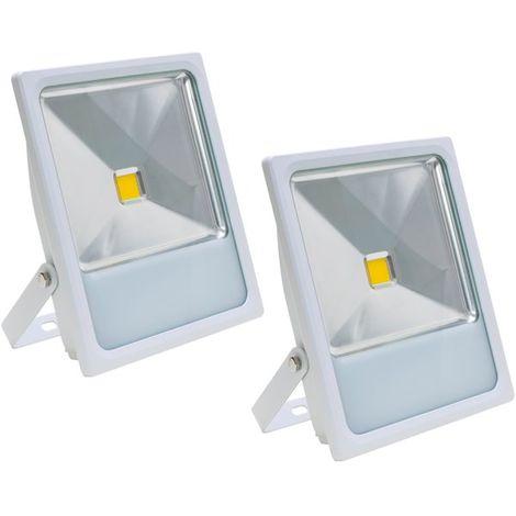 Lot 2 Projecteurs Spot LED extérieur extra plat 50 W Eclairage blanc chaud