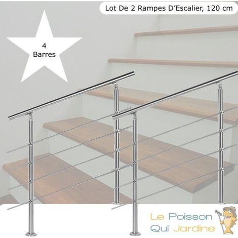 Lot 2 Rampes D'Escalier Sur Pied, 120cm, Acier Inoxydable, 4 Barres - Acier
