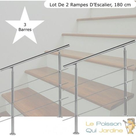 Lot, 2 Rampes D'Escalier Sur Pied, 180cm, Acier Inoxydable, 3 Barres - Acier
