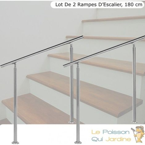 Lot, 2 Rampes D'Escalier Sur Pied, Acier Inoxydable, 180 cm - Acier
