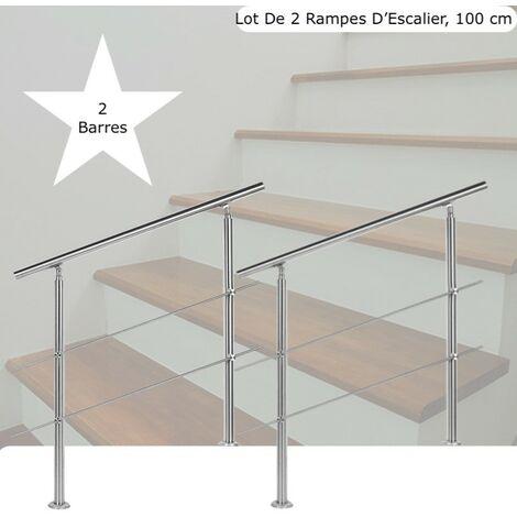 Lot 2 Rampes D'Escalier Sur Pied,100cm, Acier Inoxydable, 2 Barres - Acier