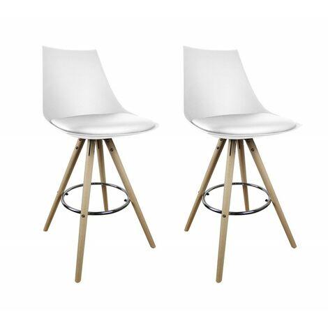 Lot 2 tabourets de bar BLANCS - chaises hautes au design moderne - EDY - Blanc