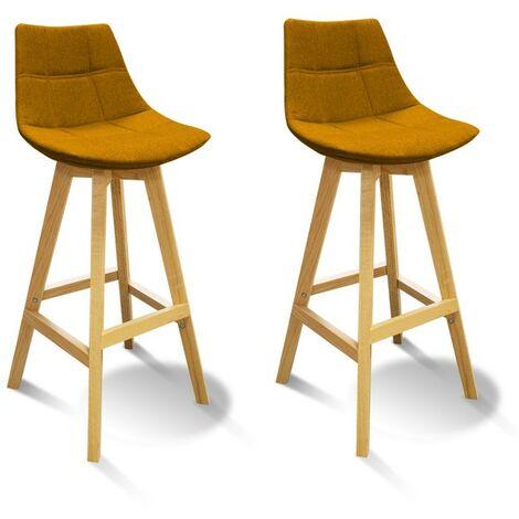 Lot 2 Tabourets de bar jaune style scandinave - WENDY