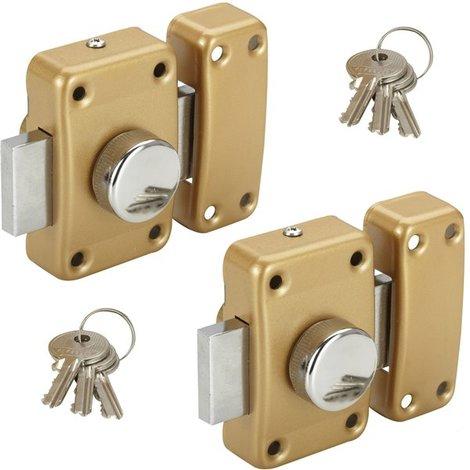 3a0741f7762 Lot 2 Verrous de surete a bouton pour porte entree Cylindre 45 mm gache  reversible gauche droite