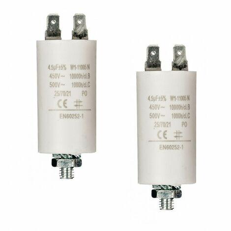 LOT 2 x Condensateur 4.5UF / 450 V + COSSES CONDO 4,5MF